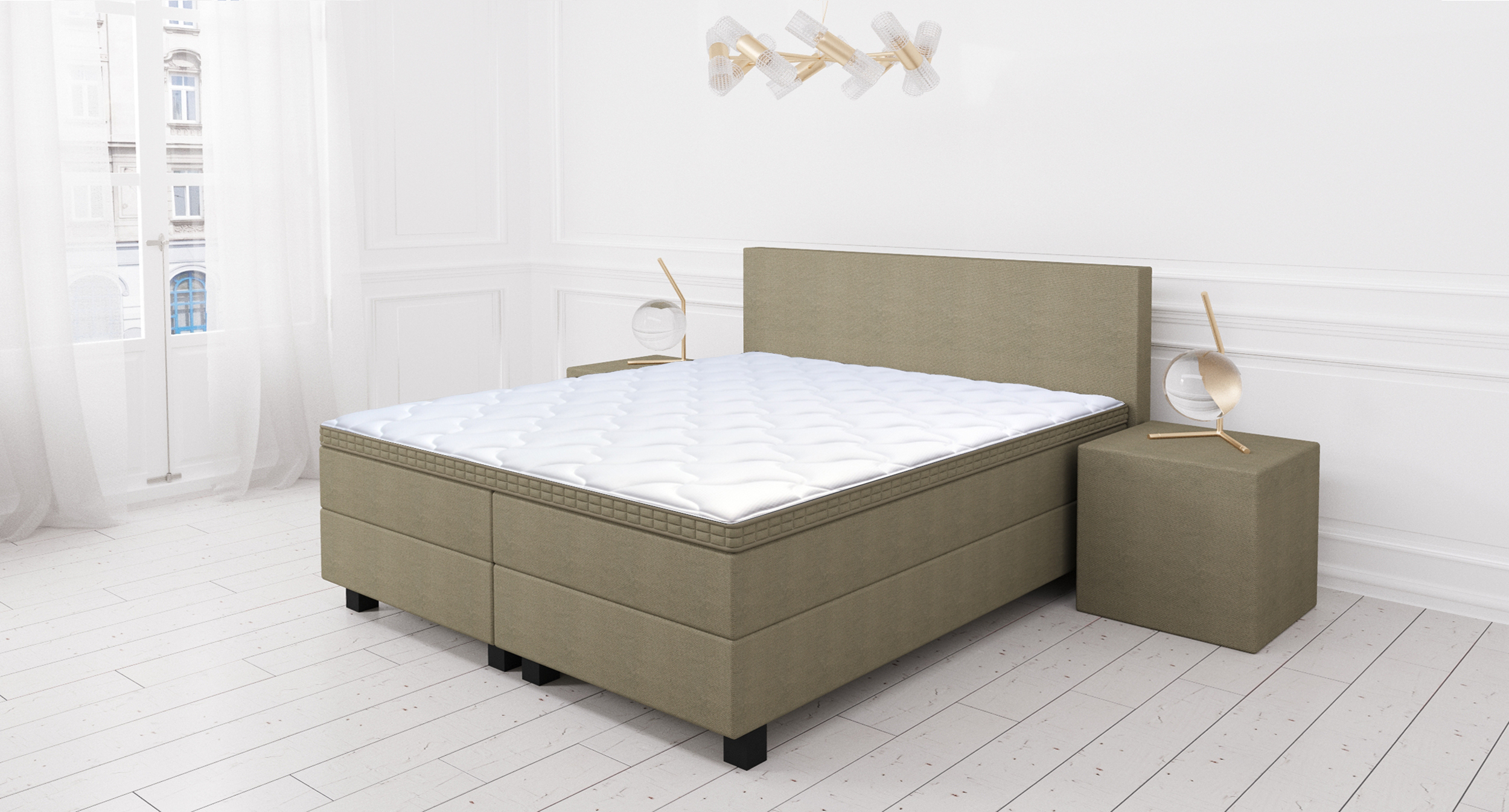 Boxspring Beste Koop 2019.Boxspring Set Holmstad De Luxe 90x200 Taupe Direct Online